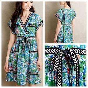 Tracy Reese Garden Glow Silk green graphic dress !